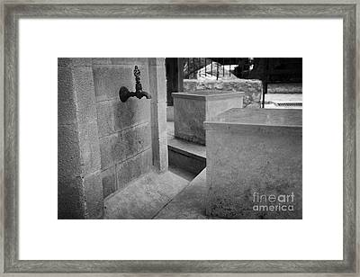 Tap And Seat At The Ablution Fountains Outside The Lala Mustafa Pasha Mos Framed Print by Joe Fox