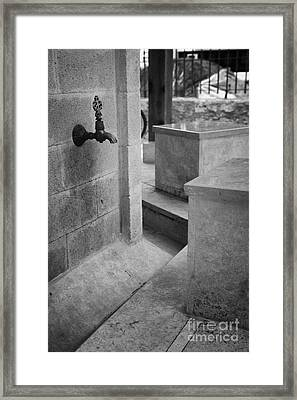 Tap And Seat At The Ablution Fountains Outside The Lala Mustafa Pasha Mosque In Famagusta Framed Print by Joe Fox