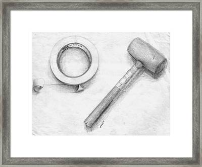 Tape And Mallet Framed Print by Corey Finney