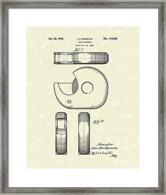 Tape Dispenser 1940 Patent Art Framed Print by Prior Art Design