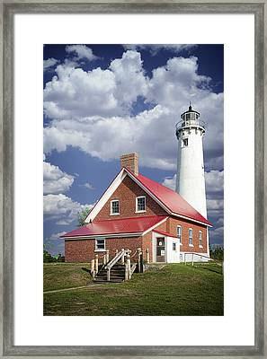 Tawas Point Lighthouse In Michigan Number 0007 Framed Print by Randall Nyhof