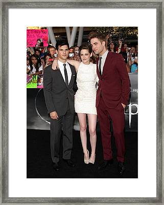 Taylor Lautner Wearing A Gucci Suit Framed Print by Everett