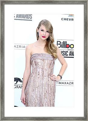 Taylor Swift Wearing An Elie Saab Gown Framed Print by Everett
