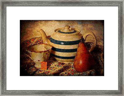Tea And Pear Framed Print by Toni Hopper