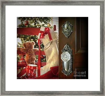 Teddy Waiting For Christmas Time Framed Print by Sandra Cunningham