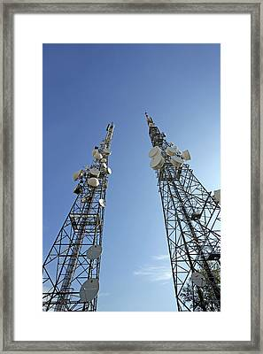 Telecommunications Masts Framed Print by Carlos Dominguez