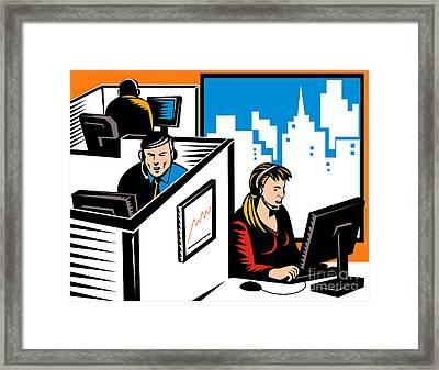 Telemarketer Office Worker Retro Framed Print by Aloysius Patrimonio