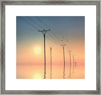 Telephone Post At Sunset Framed Print by Kurtmartin