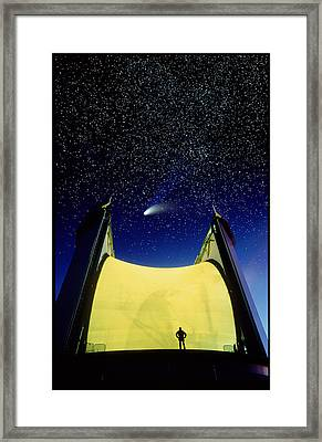 Telescope & Comet Hale-bopp Framed Print by David Nunuk