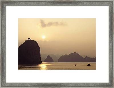 Temple At Sunset In Halong Bay Framed Print by Skip Nall