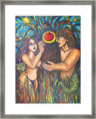 Temptation Of Adam And Eve  Framed Print by Rae Chichilnitsky