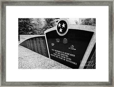 tennessee state police officer memorial war memorial plaza Nashville Tennessee USA Framed Print by Joe Fox