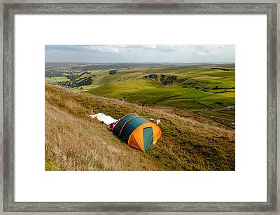 Tent Sited Near Summit Of Mam Tor Framed Print by Rod Johnson