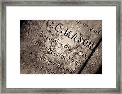 Tcm - C.c. Mason Grave Framed Print by Trish Mistric