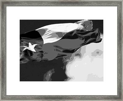 Texas Flag In The Wind Bw15 Framed Print by Scott Kelley