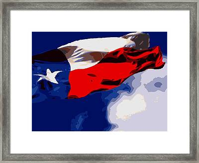 Texas Flag In The Wind Color 16 Framed Print by Scott Kelley