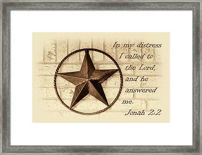 Texas Iconic Star Framed Print by Linda Phelps