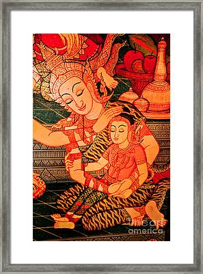 Thai Mother And Child. Framed Print by Phaitoon Chooti