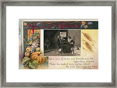Thanksgiving Card, 1909 Framed Print by Granger