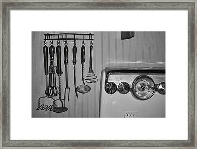 The 1950s Kitchen In Black And White Framed Print by Kathy Clark