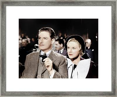 The 39 Steps, From Left Robert Donat Framed Print by Everett