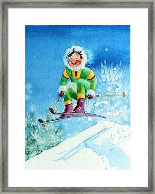 The Aerial Skier - 9 Framed Print by Hanne Lore Koehler