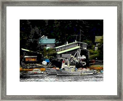 The Alaskan Fisherman's Home Framed Print by Mindy Newman