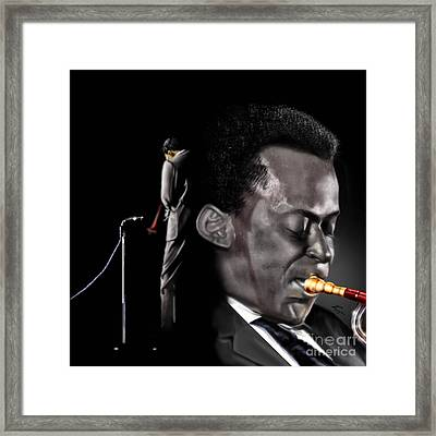 The Back And The Affront Of Miles Davis Framed Print by Reggie Duffie