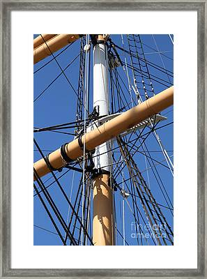 The Balclutha . A 1886 Square Rigged Cargo Ship At The Hyde Street Pier In Sf . Mast . 7d14159 Framed Print by Wingsdomain Art and Photography