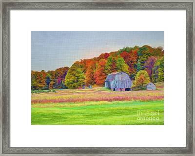 The Barn In Autumn Framed Print by Michael Garyet