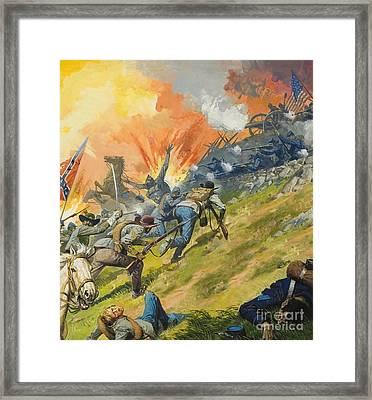 The Battle Of Gettysburg Framed Print by Severino Baraldi
