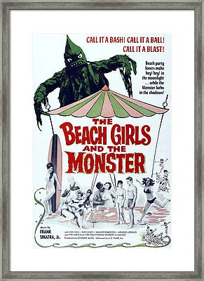 The Beach Girls And The Monster Framed Print by Everett