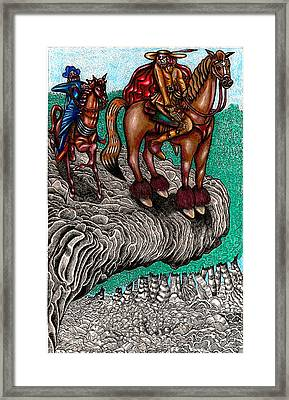 The Beast And Nahamanides In Shitaki Forest Framed Print by Al Goldfarb