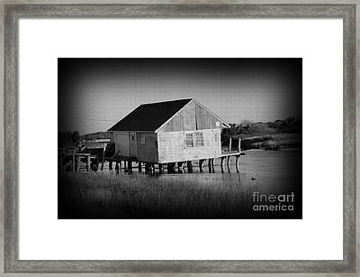 The Boathouse With Texture Framed Print by Luke Moore