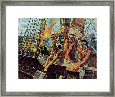 The Boston Tea Party Framed Print by Luis Arcas Brauner