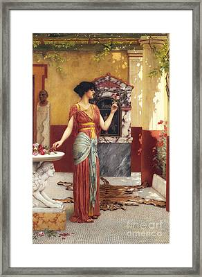 The Bouquet Framed Print by John William Godward