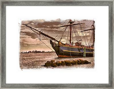 The Bow Of The Hms Bounty Framed Print by Debra and Dave Vanderlaan