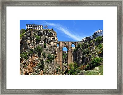 The Bridge In Ronda Spain Framed Print by Mary Machare
