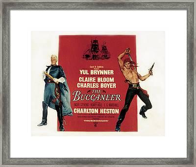 The Buccaneer, Charlton Heston, Yul Framed Print by Everett