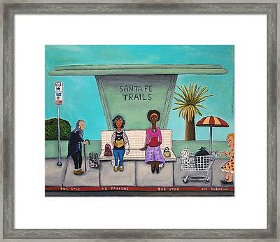 Shopping Cart Framed Print featuring the painting The Bus Stop by Leah Saulnier The Painting Maniac