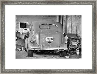 Shopping Cart Framed Print featuring the photograph The Cat's Visit by Jan Amiss Photography
