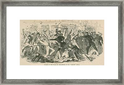 The Charge Of The  New York City Police Framed Print by Everett