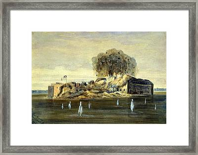 The Civil War, Exterior View Of Fort Framed Print by Everett