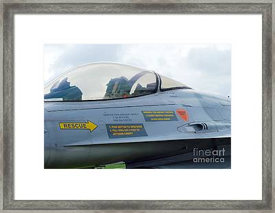 The Cockpit Of An F-16 Fighting Falcon Framed Print by Luc De Jaeger