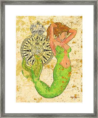 The Compass And The Mermaid Framed Print by William Depaula