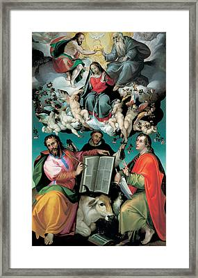 The Coronation Of The Virgin With Saints Luke Dominic And John The Evangelist Framed Print by Bartolomeo Passarotti