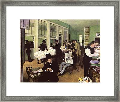 The Cotton Market In New Orleans Framed Print by Edgar Degas