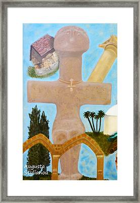 The Cross-like Idol Of Pomos Framed Print by Augusta Stylianou