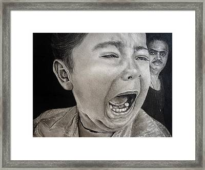 The Crying Child Framed Print by Mickey Raina