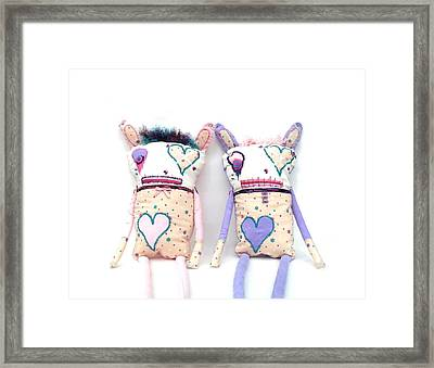 The Cutie Patootie Zombie Bunny Twins Framed Print by Oddball Art Co by Lizzy Love